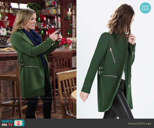 Zara Zip Buckle Coat worn by Melissa Claire Egan on The Young & the Restless