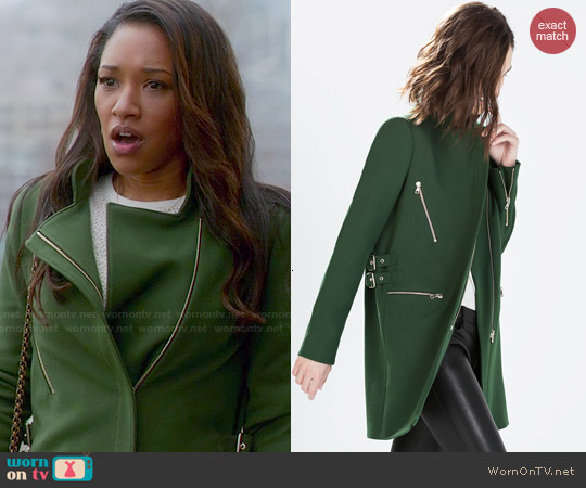 Zara Zip Buckle Coat worn by Candice Patton on The Flash