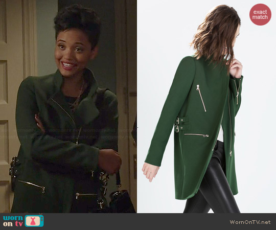 Zara Zip Buckle Coat worn by Kiersey Clemons on Eye Candy