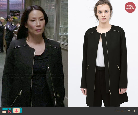 Zara Zipped Coat with Round Neck worn by Lucy Liu on Elementary