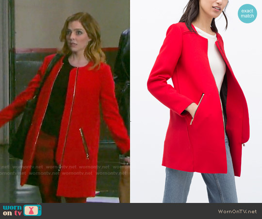 Zara Zipped Round Neck Coat worn by NBC on Uncategorized