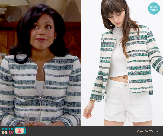 Zara Zipped Striped Blazer worn by Karla Mosley on The Bold & the Beautiful