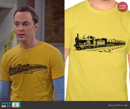 Zazzle Vintage Train Tee in Gold worn by Jim Parsons on The Big Bang Theory