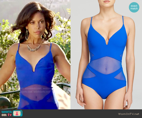 Zimmermann Hyper Bonded Plunge One Piece Swimsuit worn by Karla Mosley on The Bold & the Beautiful
