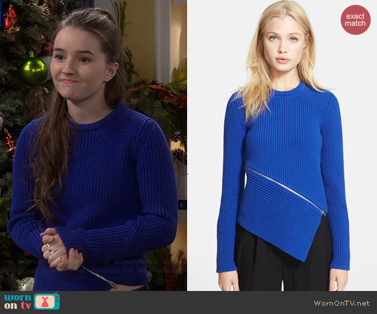 Alexander Wang Zip Peel Away Pullover in China Blue worn by Kaitlyn Dever on Last Man Standing